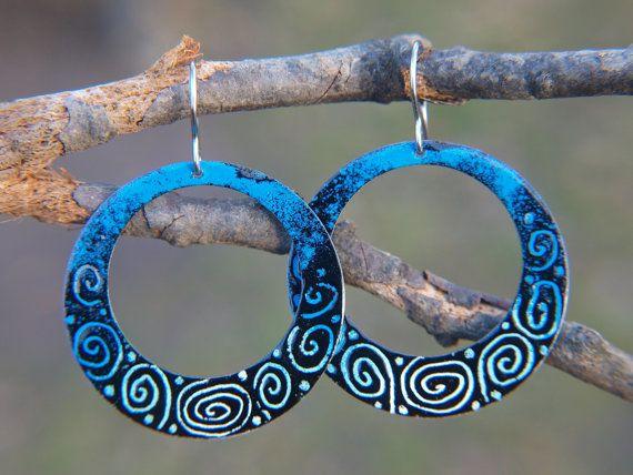 Blue Hoop Earrings with Spirals Enameled Metal by CinkyLinky