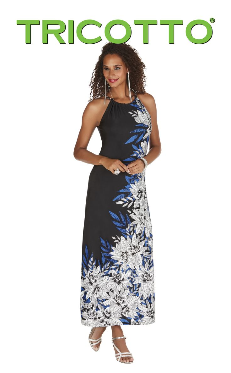 Tricotto 2017. Chic maxi dress with halter neckline. Gorgeous colors. Designed in Canada