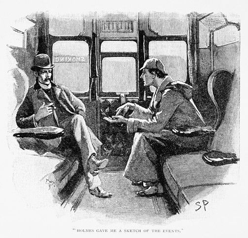 Sherlock Holmes and Doctor Watson in 'The Silver Blaze' from Arthur Conan Doyle's 'The Memoirs of Sherlock Holmes'.