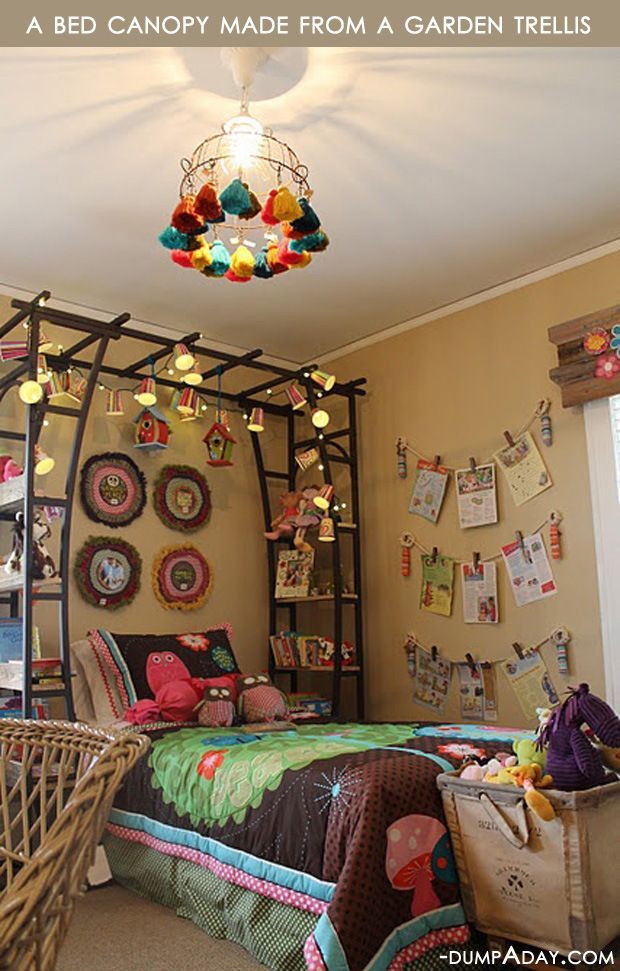 Um this is amazing.. garden trellis as bed canopy... could look cluttered though Get Organized In 2014 - 20 Genius Upcycled Storage Ideas - Giddy Upcycled
