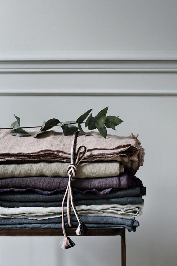A winter palette of table linens from the new Broste Copenhagen collection, love the berry soft tones, blue greys, rich plum
