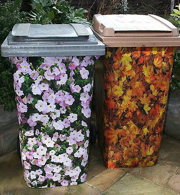 Wheelie Bin Cover Stickers Complete Wrap Around Vinyl Self Adhesive Sheets x2Set