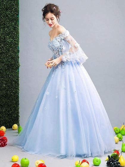 bb26eb0c021 Light Blue Off Shoulder Floral Applique Ball Gown Prom Dress ...