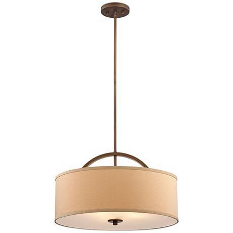 Danville Linen Shade 20 Wide Brushed Bronze Pendant Light