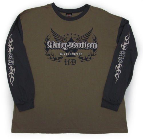 Harley-Davidson-THICK-long-sleeve-t-shirt-2XL-2X-Stubbs-Houston-Motorcycle-Biker