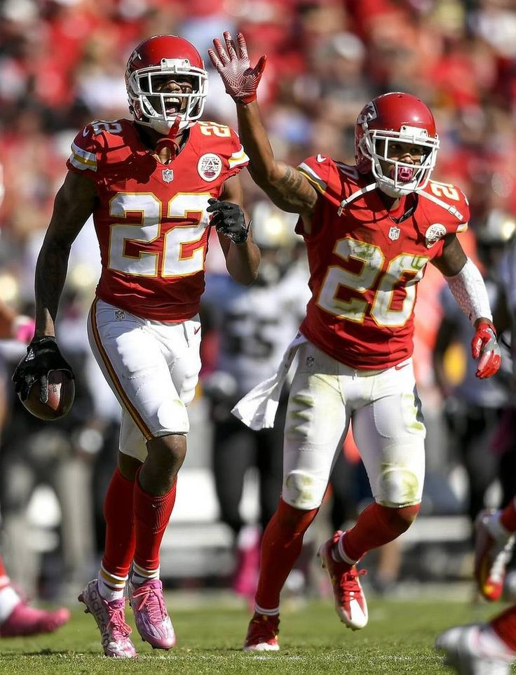 Saints vs. Chiefs  -  27-21, Chiefs  -  October 23, 2016:    Kansas City Chiefs cornerback Marcus Peters (22) shouted after recovering a fourth quarter fumble by the New Orleans Saints at Arrowhead Stadium in Kansas City, Mo. on October 23, 2016. The Chiefs won, 27-21.