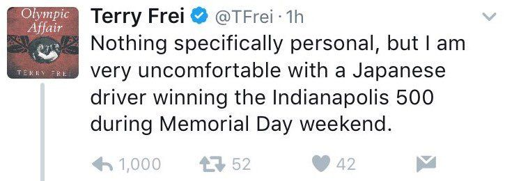 Denver Post fires writer Terry Frei for racist tweet about Indy 500 winner - http://www.loudread.com/2017/05/30/denver-post-fires-writer-terry-frei-for-racist-tweet-about-indy-500-winner/
