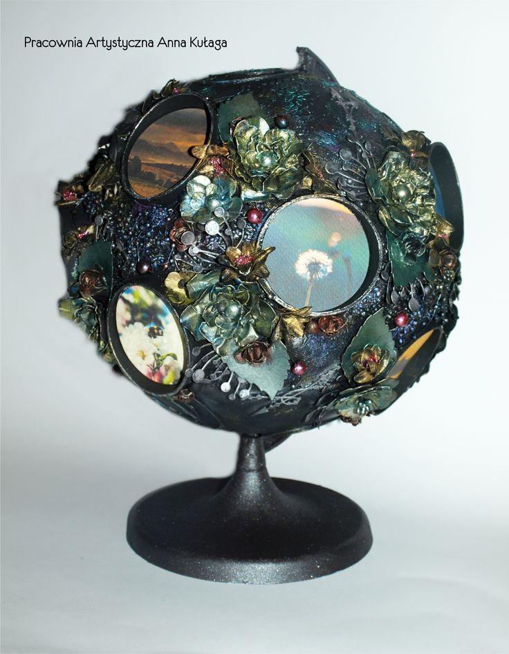 Altered art - globe by Anna Kułaga