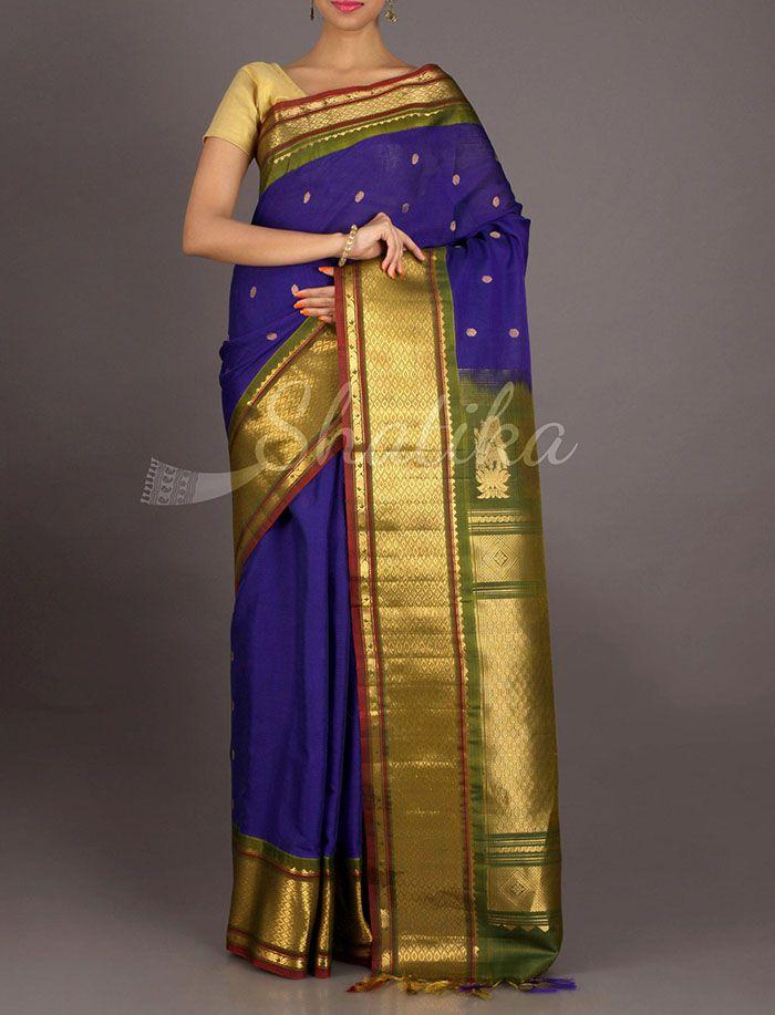 Sadguna Broad Oblique Designed Border Pure #GadwalSilkCotton Saree