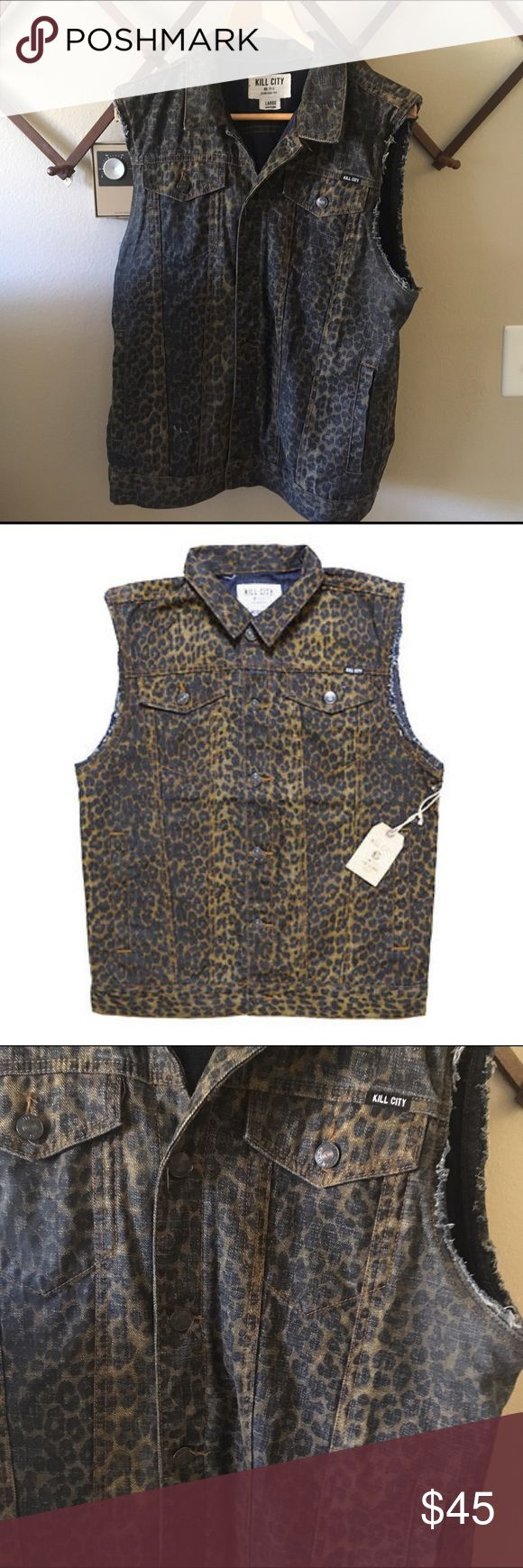 Kill City Leopard Print Jean Vest Awesome jean vest in great used condition. Features inside pockets as well as the outside ones. Jackets & Coats Vests