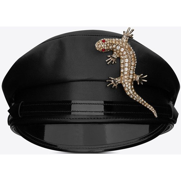 Saint Laurent Black Officer Cap ($1,735) ❤ liked on Polyvore featuring accessories, hats, yves saint laurent and cap hats