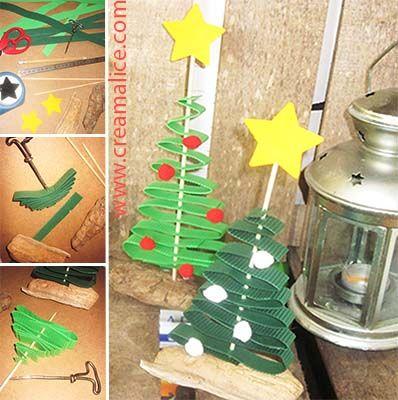 ★ ✄ DIY Déco Mini-Sapin Noël Papier / DIY Paper Christmas Tree ✄ ★ www.creamalice.com