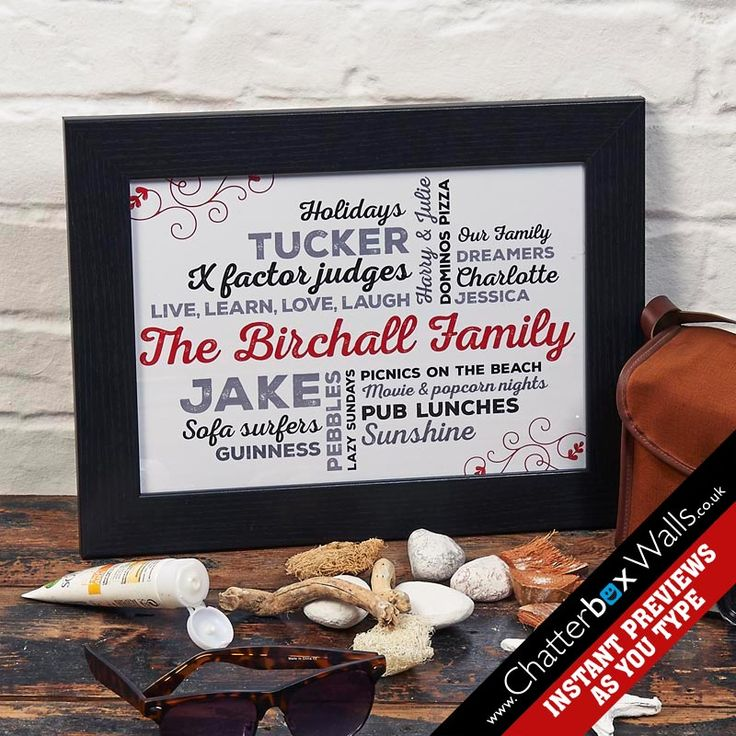 Personalised framed family word art print for families