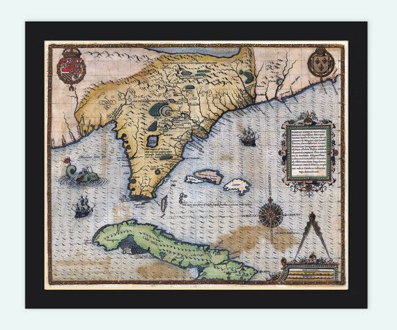 Old Map of Florida and Caribbean Area (circa.1588) This is a reproduction, vintage, highly detailed Map. The Map is approximately (14.in x18.in)