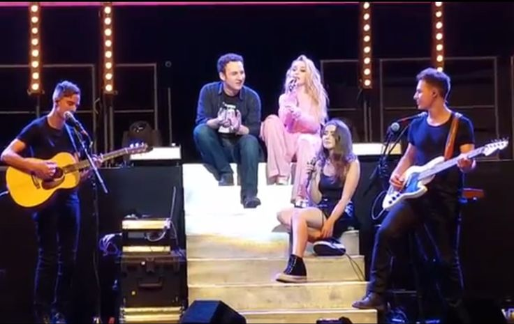 2017 Sabrina Carpenter's GMW cast (Ben and Sarah) join her on-stage to sing CBAGFT during The Detour concert in Los Angeles