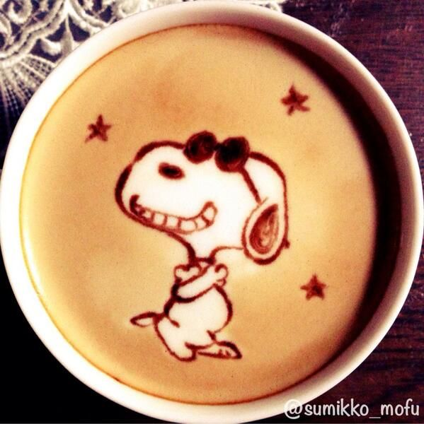 Snoopy latte art ... Have to pin this because Snoopy is my favorite!