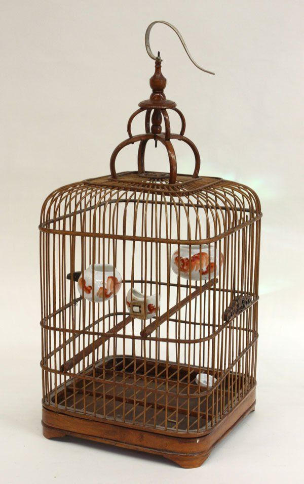 chinese bird cages | 100: Chinese Bird Cage/Bird Feeders : Lot 100