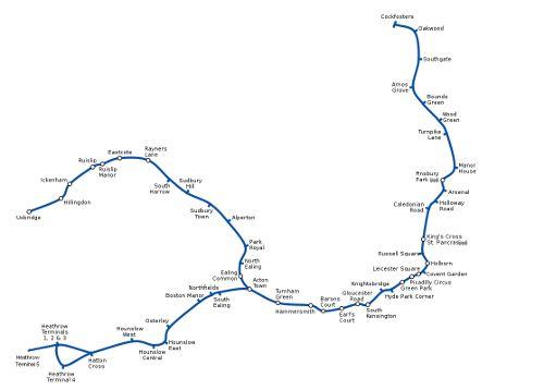 Mapa de Piccadilly Line, metro de Londres