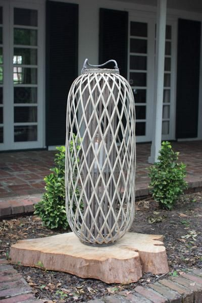 Tall Grey Willow Lantern With Glass Small