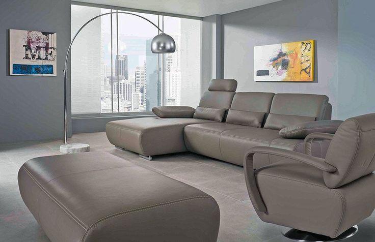 Miami von K+W Polstermöbel - Ledersofa grau-braun