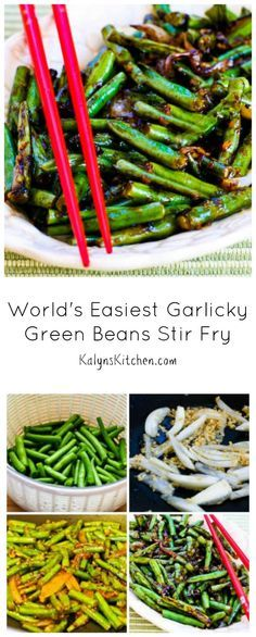 's Werelds gemakkelijkste Garlicky Sperziebonen Stir Fry Recept (Low-Carb, Glutenvrij) [van KalynsKitchen.com]
