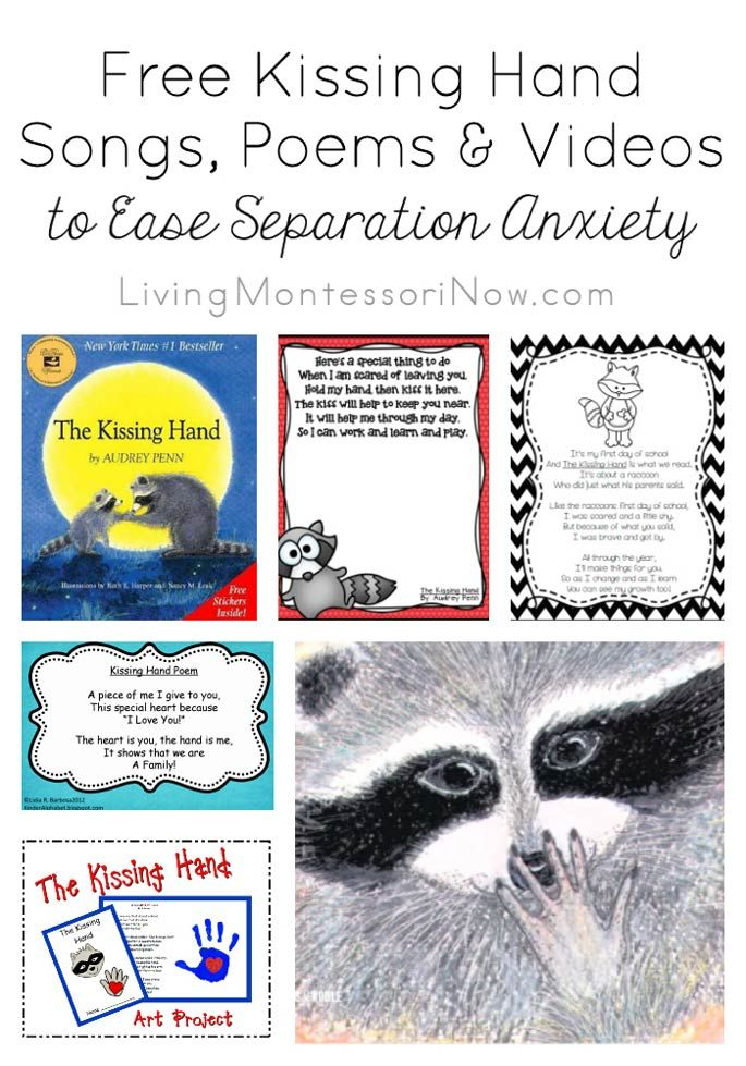 Starting preschool or kindergarten can be one of the hardest events for children (and their parents).The Kissing Hand book, songs, and videos can help ease that separation anxiety.