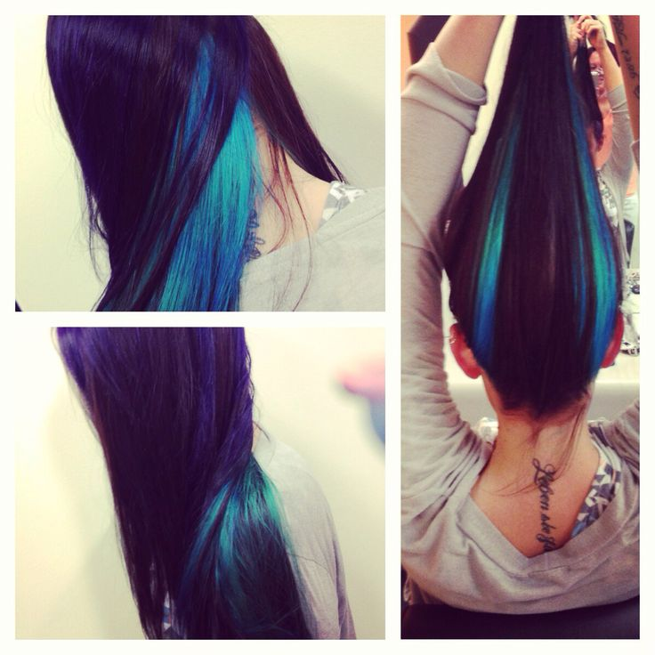 That mermaid hair! She lets me create magic in her hair!! Elumen turquoise purple . I would let anybody do this to me. \\
