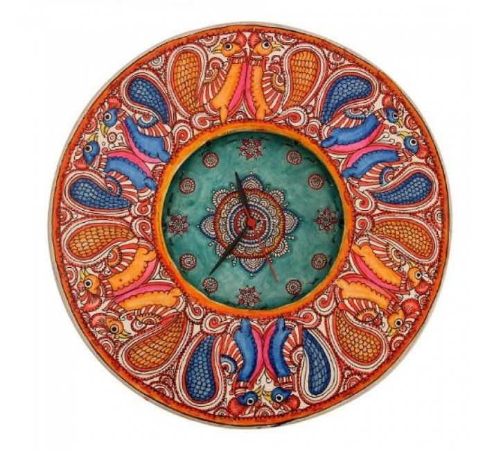 Leather Puppetry Handpainted Multicolored Clock