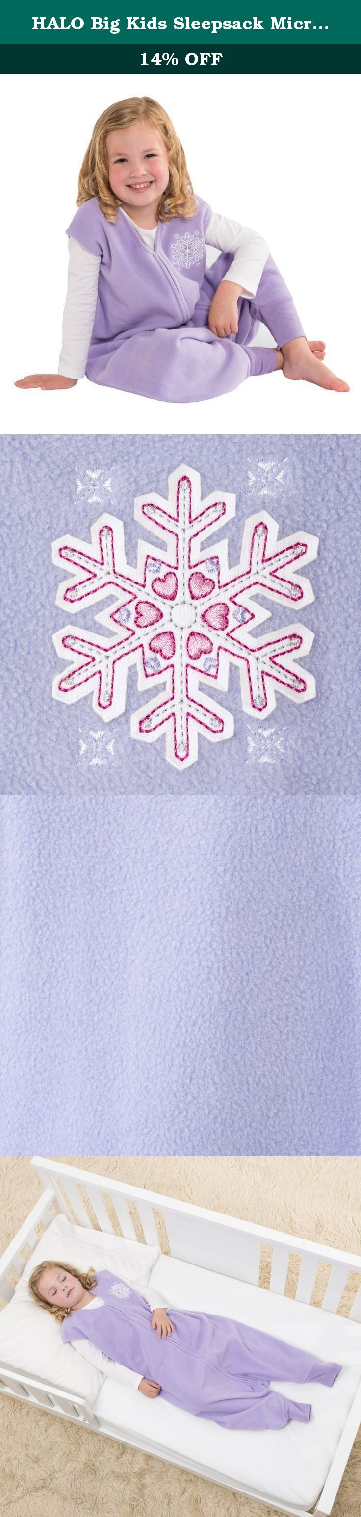 HALO Big Kids Sleepsack Micro Fleece Wearable Blanket, Lilac Snowflake, 4-5T. HALO SleepSack Big Kids: Helps kids sleep safe and sound. The HALO SleepSack Big Kids becomes a trusted bedtime routine, providing the secure feeling your child needs to fall asleep fast and sleep soundly throughout the night. It is a warm cuddly blanket they cannot kick off; ensuring little ones sleep well and stay covered throughout the night. With its unique foot openings, the SleepSack Big Kids wearable…