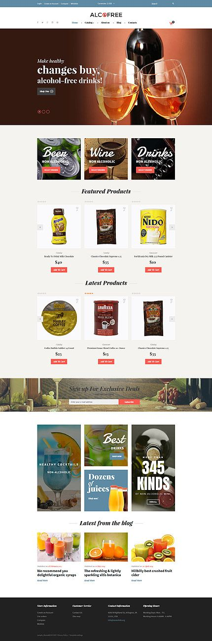 Food & Drink website inspirations at your coffee break? Browse for more VirtueMart #templates! // Regular price: $75 // Sources available: .HTML,  .PSD, .PHP, .XML, .CSS, .JS #Food & Drink #VirtueMart #Wine #Beer #Drinks