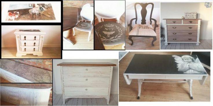 Diverse målade möbler säljes. Den ena är inte den andra lik, och jag kan garantera att du kommer bli ensam med just en av dessa i din ägo. Jag målar för skojs skull och hemmet börjar bli överfullt.   På bilden:  Stor skänk i vanilj med gammal världsk...