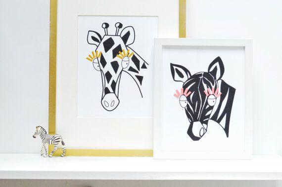 Cebra infantil arte vivero decoración cebra por ShenasiConcept