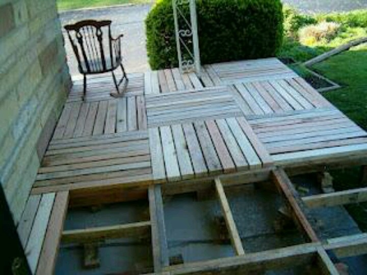 Pallet deck cottage camping pinterest decks front for Decking made from pallets