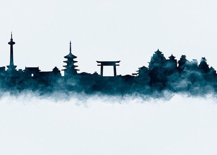 Kyoto Skyline   #kyoto #japan #skyline #landscape #cityscape #art #prints #gift #ideas