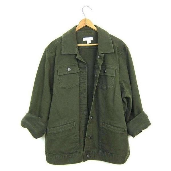 Vintage Army Green Jean Jacket 90s Dark Green Denim Grunge Jacket Over ❤ liked on Polyvore featuring outerwear, jackets, green jacket, green jean jacket, green denim jacket, baggy jean jacket and vintage denim jacket
