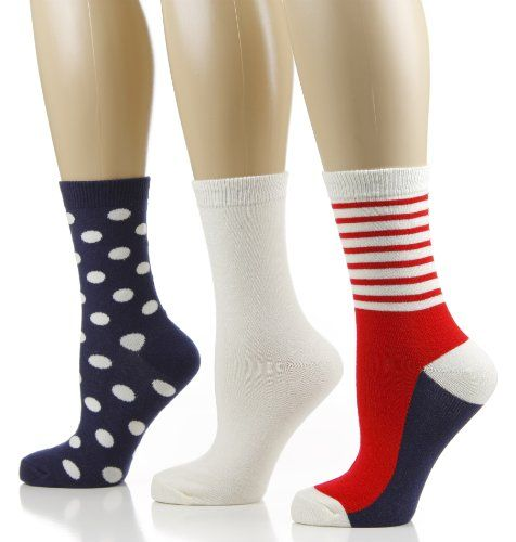 Womens Crew Socks  3 PK  Size 911  Sailor Combo NavyIvoryRed ** Learn more by visiting the image link.