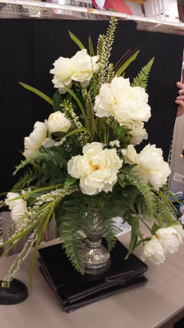 Peonies and mercury glass: Designed by Christine Lucas Crowley for Michaels  in North Riverside,  Silk Floral ArrangementsNorth ...