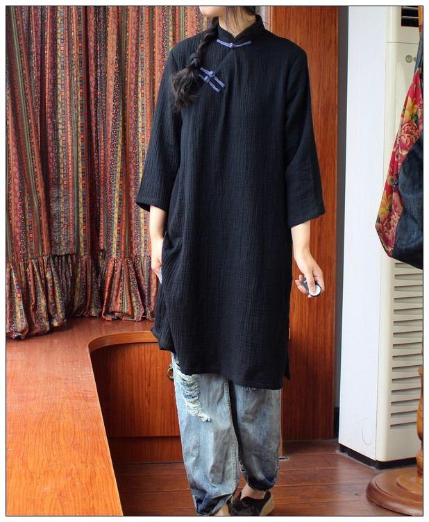Summer folk style dress frog soft cotton handmade Chinese collar  Vintage gown three-quarter sleeve Robe