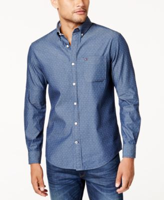 Tommy Hilfiger Men's Custom-Fit Dean Dobby Chambray Shirt - Blue 3XL