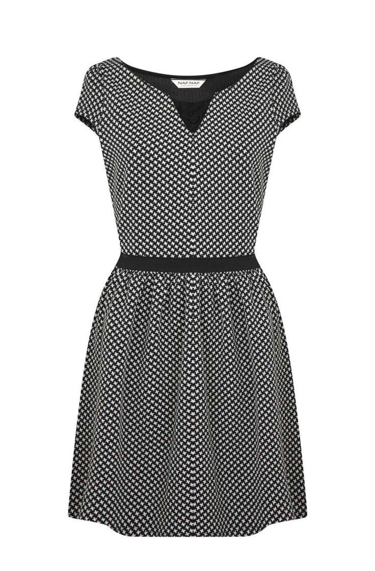 Robe cintrée à manches courtes noir/blanc - robes femme - naf