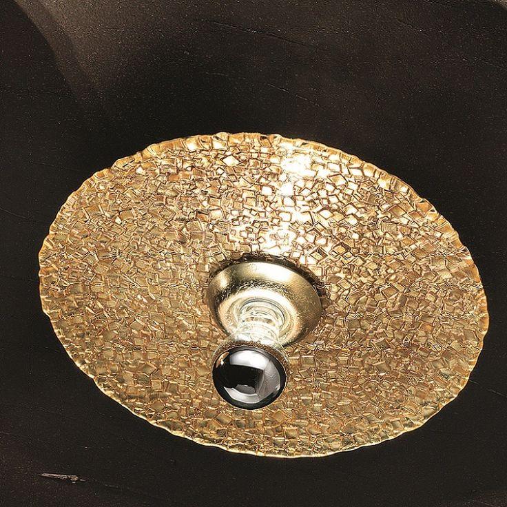 Design-Deckenleuchte Ø 55cm, Mosaikglas mit Blattgold, Blattsilber oder Chrom