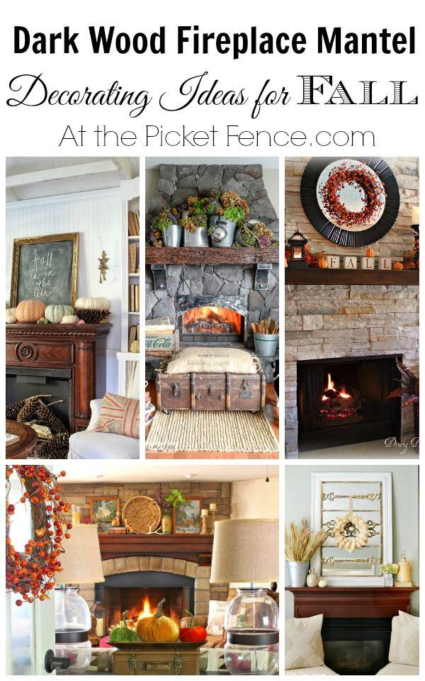 Dark wood fireplace mantel decorating ideas for