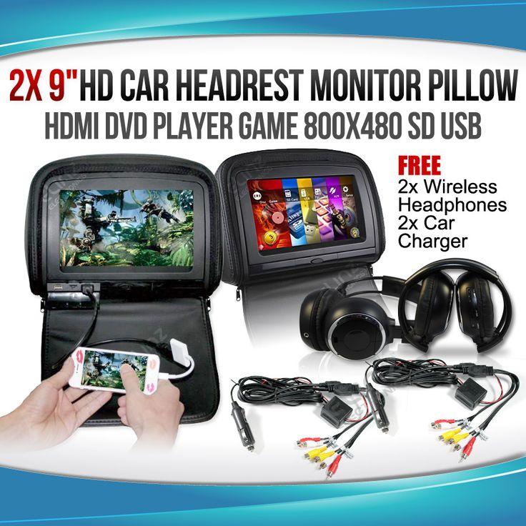 "Headrest 2x 9"" HD Car Monitor Pillow HDMI DVD Player GAME 800X480 SD USB"