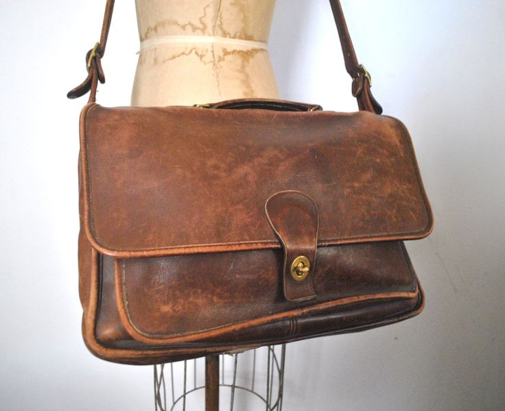 Distressed Coach Briefcase / computer laptop bag / brown leather / UNISEX by badbabyvintage on Etsy