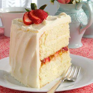 Vanilla Bean Cake with Strawberry filling and White Chocolate Ganache Recipe