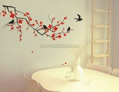 Wallstickers-Veggdekor-Blomster-Artistic Flower and Bird