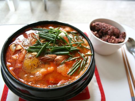 Seafood Sundubu Jjigae..hot spicy seafood and a just cooked egg!