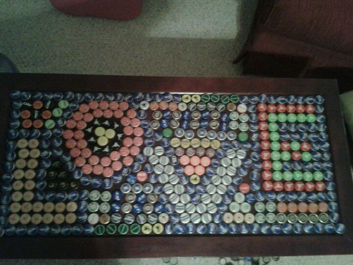 Image of: Coffee Bottle Cap Table Designs