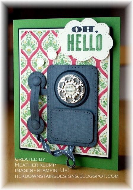 Stampin' Up! Punch Art Phone Card by Heather K at Downstairs Designs: Oh, Hello