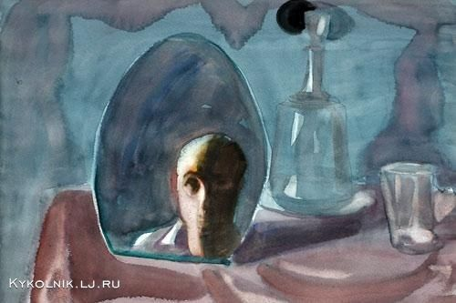 "Popkov Victor (USSR, 1932-1974) ""Still life with a mirror"", Self portrait, 1971.  1971 год Попков Виктор Ефимович (Россия, 1932–1974) «Натюрморт с зеркалом. Автопортрет»."